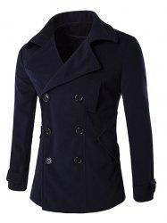 Epaulet Design Back Vent Button Tab Cuff Pea Coat