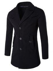 Epaulet Design Button Pocket Single Breasted Coat -