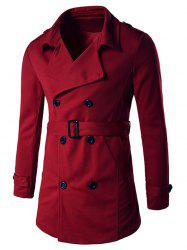 Double-Breasted Tab Cuff Epaulet Design Belted Trench Coat - RED XL