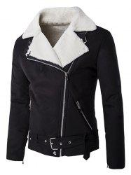 Buckle Belt Zippered Plush Lining Suede Jacket - BLACK