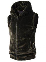 Rib-Hem Zip Up Hooded Plush Fleece Vest -