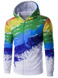 Paint Splash Printed Zip-Up Hoodie - COLORMIX