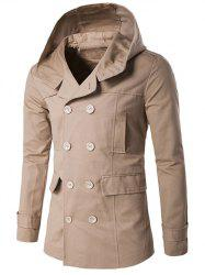 Double Breasted Spliced Hooded Wind Coat -