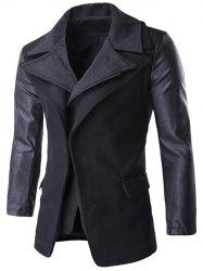 Zip-Up PU Spliced Faux Twinset Coat - BLACK
