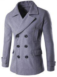 Double Breasted Spliced Wool Blend Coat -