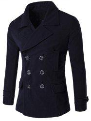 Double Breasted Spliced Wool Blend Coat - PURPLISH BLUE