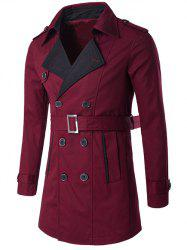 Notched Collar Color Block Double-Breasted Trench Coat - WINE RED 2XL