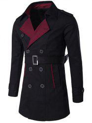 Col cranté Coat Color Block Trench - Noir