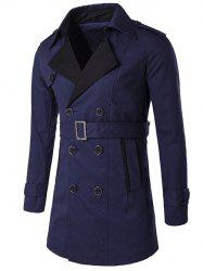 Notched Collar Color Block Double-Breasted Trench Coat