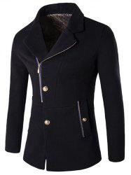 Zip + Button Fly Lapel Collar Wool Blend Coat - BLACK