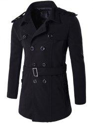 Double Breasted Epaulet Design Trench Coat - BLACK