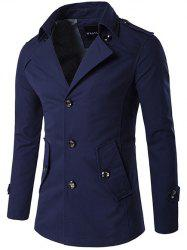 Single Breasted Epaulet Design Wind Coat - PURPLISH BLUE