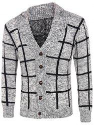 Grid Pattern Heathered Button Up Cardigan - GRAY 2XL