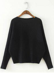 Comfortable Dolman Sleeve Knitted Sweater -