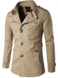 Single Breasted Zipper Pocket Epaulet Coat