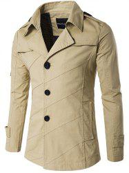 Single Breasted Line Pattern Epaulet Trench Coat