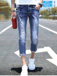 Skinny Distressed Stonewashed Denim Jeans