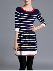Striped Knitted Flare Dress -