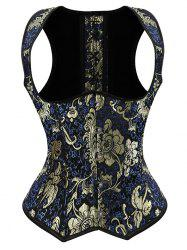 Jacquard Print Lace-Up Corset Vest - DEEP BLUE