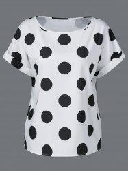 Plus Size Cuffed Sleeve Polka Dot T-Shirt