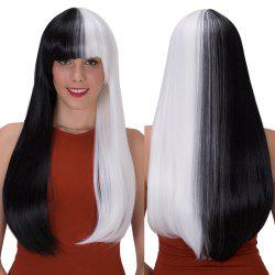 Stunning Double Color Long Full Bang Straight Tail Adduction Synthetic Wig