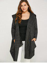 Long Hooded Plus Size Cardigan With Pockets - BLACK