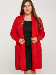 Wintersweet Embroidery Frayed Edge Long Cardigan -