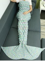 Warmth Hollow Out Design Knitted Mermaid Tail Blanket - AZURE