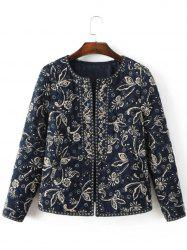 Ethnic Floral Embroidered Fitted Jacket - CADETBLUE