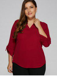 Plus Size Chiffon V Neck Blouse