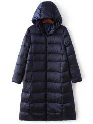 Long Sleeve Hooded Quilted Long Winter Jacket - CADETBLUE
