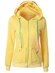 Drawstring Casual Zipper Up Hoodie - YELLOW 2XL