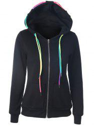 Drawstring Casual Zipper Up Hoodie - BLACK