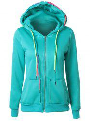 Drawstring Casual Zipper Up Hoodie - LAKE BLUE