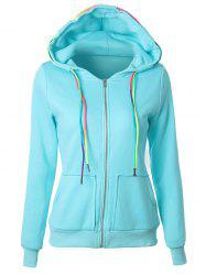 Drawstring Casual Zipper Up Hoodie