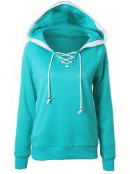 Casual Raglan Sleeve Lace Up Pullover Hoodie