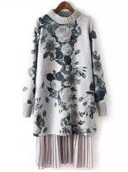 Long Sleeve Floral Print Layered Sweater Dress -