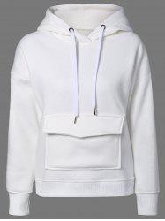 Drop Shoulder Drawstring Kangaroo Hoodie - WHITE