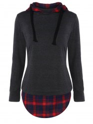 Plaid Insert Drawstring Tunic Hoodie - DEEP GRAY L