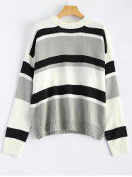 Color Block Striped Drop Shoulder Sweater