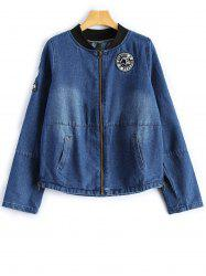 Stand Neck Graphic Patched Denim Jacket -