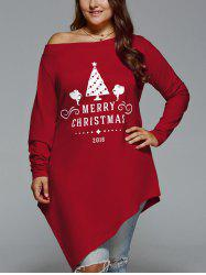 Plus Size Merry Christmas Print Asymmetric Top - DEEP RED