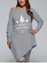 Plus Size Merry Christmas Print Asymmetric Top