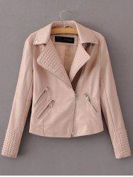 PU Fitting Zip-Up Motorcycle Jacket - PINK L