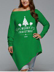 Plus Size Merry Christmas Print Asymmetric Top - GREEN 5XL