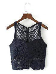 Cut Out Zippered Lace Tank Top -