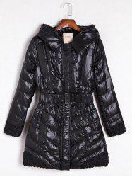 Belted Hooded Quilted Coat - BLACK XL
