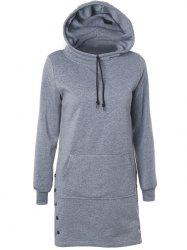 Drawstring Side-Buttoned Hoodie - GRAY 2XL