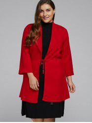 Open Front Plus Size Coat with Pockets -