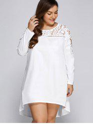 Long Sleeve Plus Size Lacework Panel High-Low T Shirt Dress - WHITE 5XL